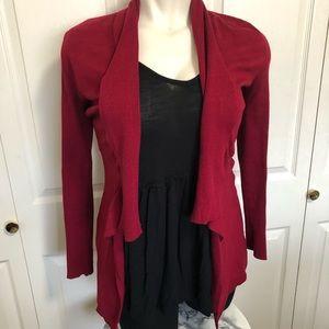 WhiteHouseblackmarket red draped cardigan w/pocket